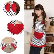 Beautiful Apron Chic Cooking Apron Women Bowknot Bib Apron Dress Cute Kitchen Flirty with Pocket(China)