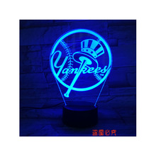 HOT Sale 3D LED MLB Yankees Night Light Touch cap Lamp USB 3D Table lamps ,good gift for fans