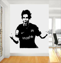 Handsome Messi Football Star Wall Decal Barcelona Football Soccer Player Victory Wall Sticker For Kids Boys Bedroom VinylSYY433(China)