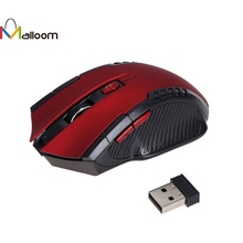 Malloom 2.4GHz Computer Mouse Gaming 1600DPI 6 Buttons Wireless Optical Mouse USB Scroll Mice for Tablet Laptop Computer#25(China)
