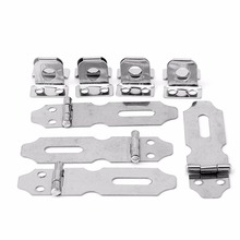 4Pcs Stainless Steel Home Drawer Door Safety Padlock Latch Hasp Staple NO.5#L057# new hot(China)