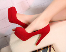 Fashion 3 Colors New Style Sexy Woman Sexy Thin Heel Pump Hihg Quality Flock Big Size High Heel Shoes For LWomen W1-HYL-1018