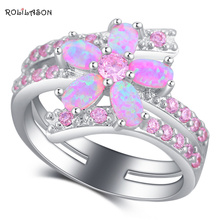 ROLILASON Luxury Sparkling Flower Style Pink Fire Opal 925 Silver Zircon Fashion Jewelry Ring USA Sz #5#6#7#8#9#10 OR880(China)