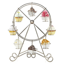 Practical Ferris Wheel 8 Cups Silver Stainless Steel Cupcake Stand Cake Holder Wedding Marriage Decoration Party Supplies
