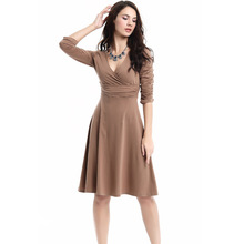 Foreign trade in Europe and America new winter Slim package hip deep V piles sleeves dress pencil dress(China)