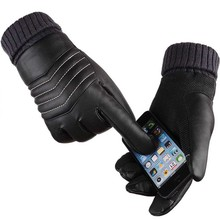 Full Fingers ski Gloves 1Pair Mens Womens Newly Design Cool Artificial Leather Touch Screen Winter Warm Gloves Black(China)