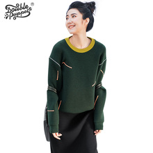 Buy Double puppet o-neck pullover women long sleeve embroidery 2017 spring new fashion contrast color loose casual clothes 171001 for $22.00 in AliExpress store