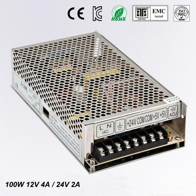 Best quality 12V  24V 100W Switching Power Supply Driver for LED Strip AC 100-240V Input to DC 12V 24V free shipping<br>