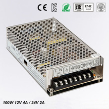 Best quality 12V 24V 100W Switching Power Supply Driver for LED Strip AC 100-240V Input to DC 12V 24V free shipping(China)
