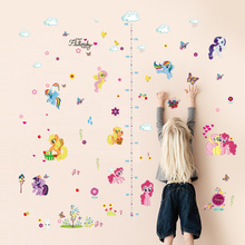 popular cartoon horse height measure home decal wall sticker kids room baby girl gift growth chart butterfly beautiful mural(China)