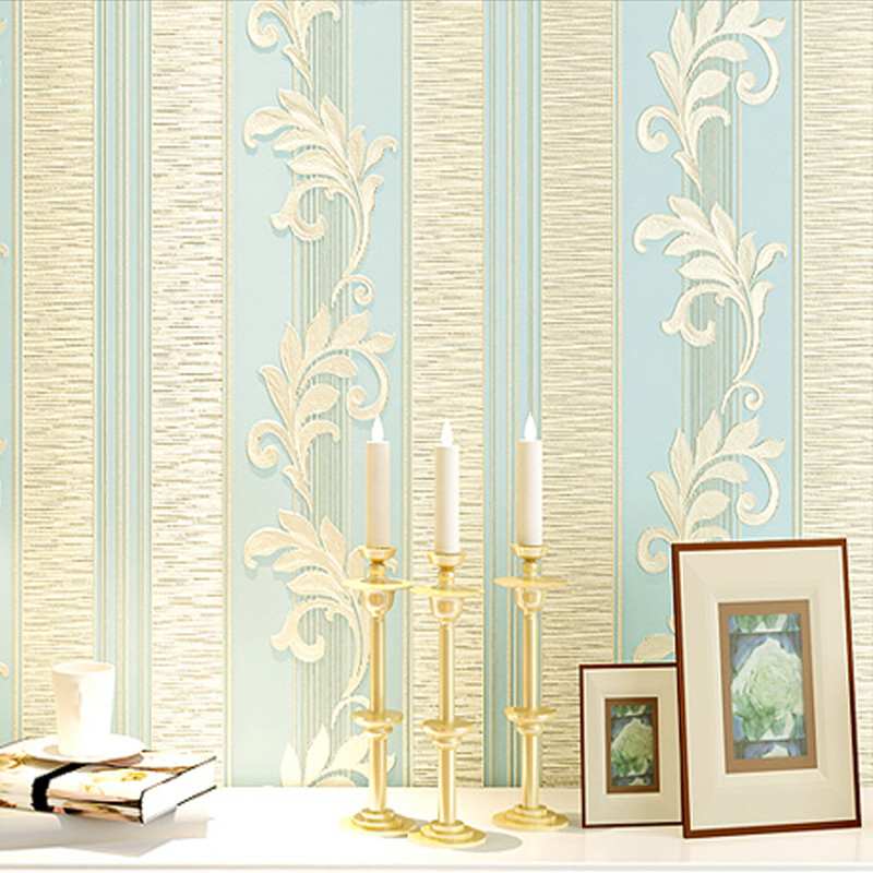 PAYSOTA 4D Embossed European Living Room Bedroom Background Wallpaper Non-woven Fabric Thickening Vertical Stripe Wall Paper <br>