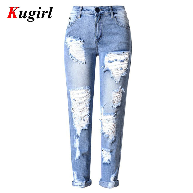 Hot Ladies white Ripped Hole jeans Cotton Denim Pants Womens Ripped Skinny Mid Waist Jeans Denim Jeans For FemaleОдежда и ак�е��уары<br><br><br>Aliexpress