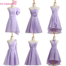 short lilac lavender bridesmade bridesmaids a line dress knee length gown event mixed a line bridesmaid dresses chiffon B3770