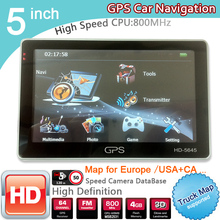New 5 inch HD GPS Navigation 800Mhz/FM/8GB/DDR3 2016 Maps For Russia/Belarus  Europe/USA+Canada TRUCK Navi Camper Caravan