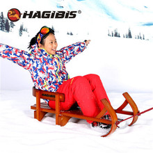 Vantage Wooden Wood Child Sled Kids beech Sledge Skating Board Winter Outdoor Sport Sled Christmas Gifts slittino neve XQ04