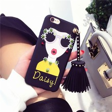 Modern Girl Rivet Tassels Phone Case For iPhone 7 7plus 6 6s Plus 3D soft TPU Silicon mobile back cover Funda Coque For OPP R9S