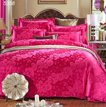 Rose rouge ensemble de literie king size housse de couette ensemble 4 pcs lit couvre satin couvre-lit drap de coton lit queen ensemble 5358(China)