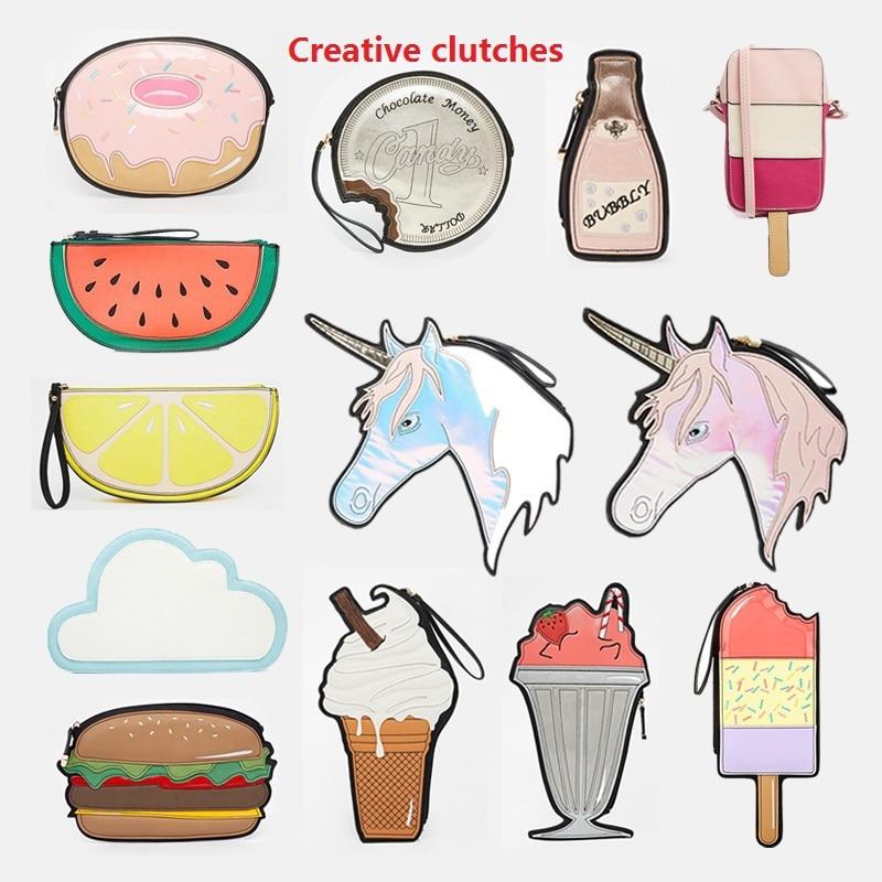 American fashion funny clutch different shaped handbag hamburger cloud bubbly icecream lemon coin chocalate small creative bags<br><br>Aliexpress