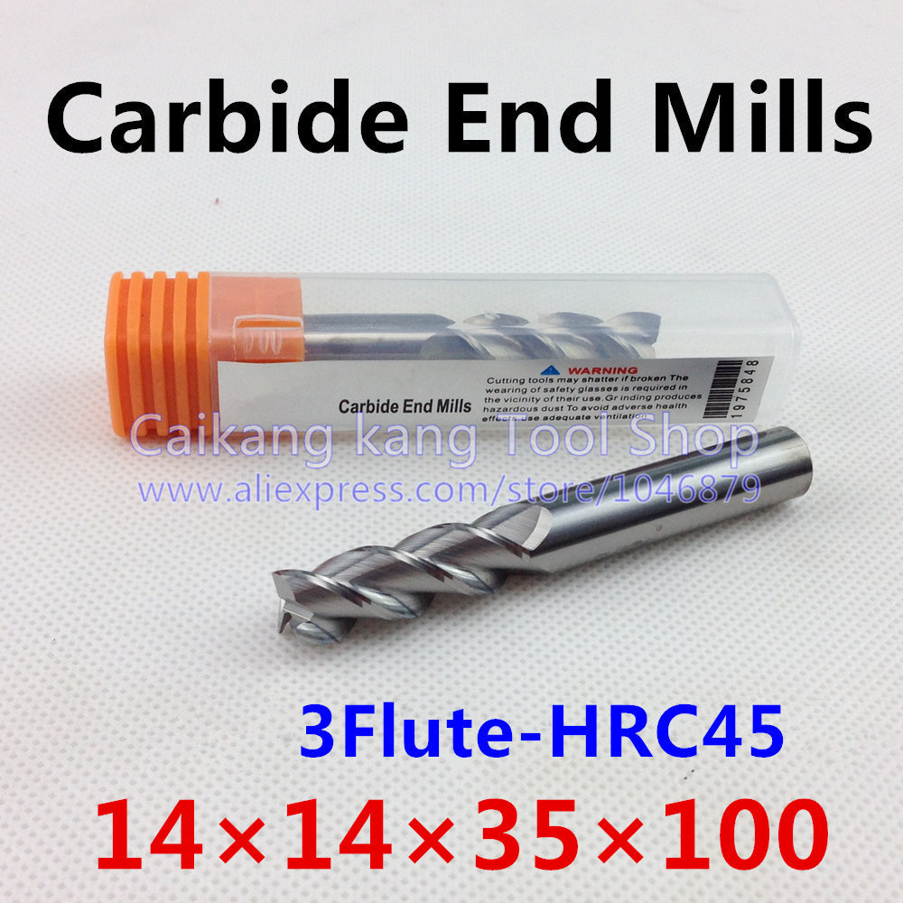 New 3 Flute Head: 14mm Carbide End Mills Milling for Aluminum Maximum Cutting Hardness: 45HRC CNC Tool 3F14*14*35*100mm<br>