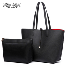 Buy 1 Get 1 at 50% Off Miss Lulu Women Leather Handbags Reversible Shoulder Bags Black Top-handle Bags Large Shopper Set LT6628(China)