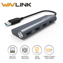 Wavlink 4 Port hub usb 3.0 aluminium Body Usb 3.0 Portable Hub Multi-Function No Drivers Required Dock for PC Laptop Ultrabook(China)