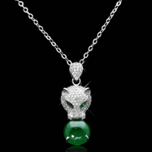 Luxury 925 Sterling Silver Green Stone Leopard Necklaces & Pendants For Women AAA Rhinestones Sterling-silver-jewelry D434