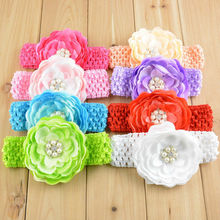 10 pcs /lot  Lace Ribbon Flower   Headbands    Elastic Hairband  roses with diamond Children Hair Accessorie