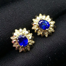 18k gold earring hot sale MEDBOO 18k yellow gold inlad natural blue sapphire gemstone earrings with diamond for women(China)