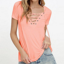 New European Fashion Lace Up Summer T Shirt Women Sexy V Neck Hollow Out Top Casual Short Sleeve Basic T-shirts   -MX8
