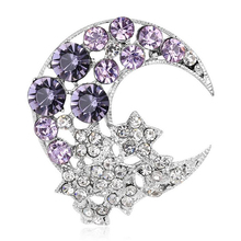 [BFQ]Fashion Crescent Moon Brooch For Women 2017 Collar Pin Famous Brand Brooch Jewelry Accessory Silver Crystal Brooches(China)