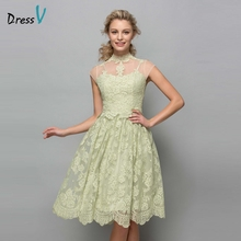 Dressv 2017 Lovely Knee Length Cocktail Dresses Green Lace High Neck See Through Cap Sleeves A-line Cocktail Dress Party Dresses