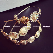 Designer Baroque Gold tone Chunk Coin Rhinestone wide hair band head wrap Celebrity love Multi style