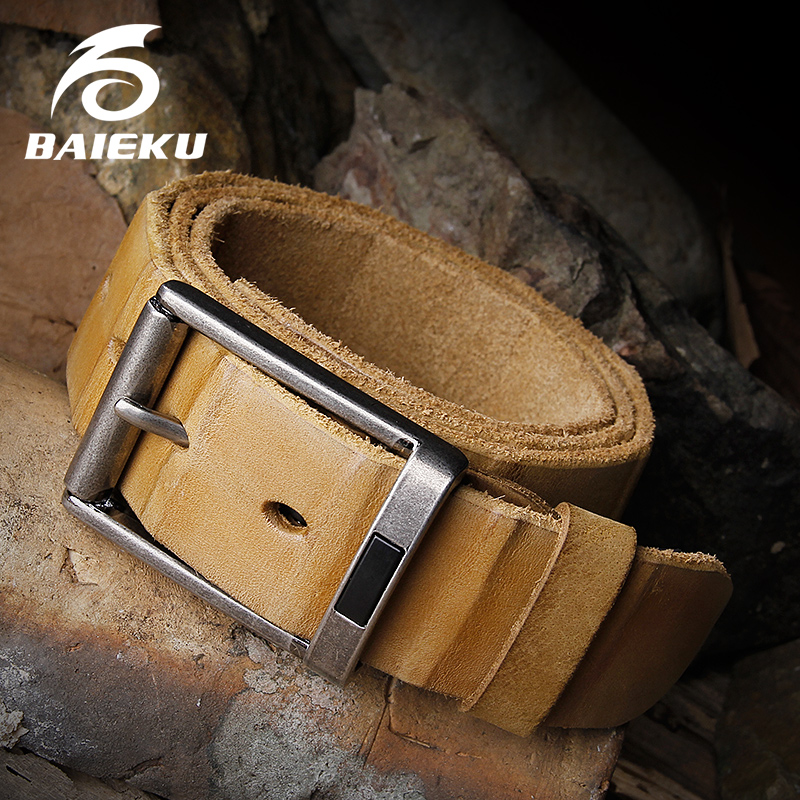 BAIEKU Stitched retro pattern belt stripes pattern cowhide leather belt Men's pin buckle belt
