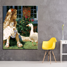 DIY Painting By Numbers Kits Paint Modern Framework Girl Animal Duck Home Decorative Modular Wall Art Picture Gift Coloring(China)