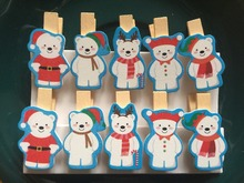 120pcs Love Christmas Bear Wood Pin Clothespin Crafts Photo Picture Wooden Clip Wooden Pegs for Christmas Party Decorative Favor(China)