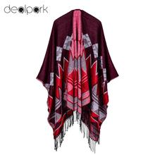 Fashion Women Poncho Cardigan Sweater Geometric Tassels Fringed Faux Cashmere Capes Shawl Scarf Loose Outerwear