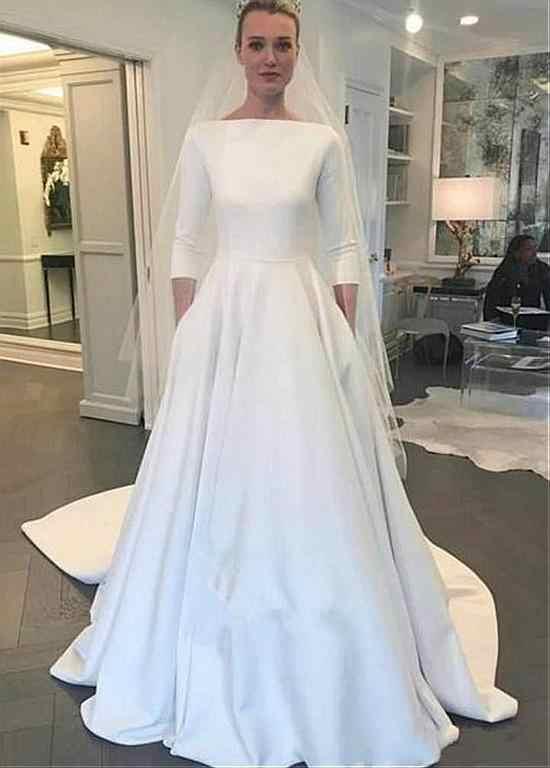 5b9611941233 Detail Feedback Questions about Vestido De Noiva 2018 Muslim satin Wedding  Dresses A line 3 4 Sleeves Sweep Train Dubai Arabic Wedding Gown Bridal  Dresses ...