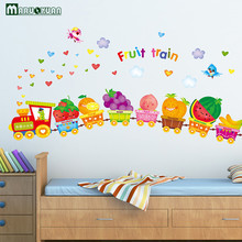 YunXi Happy Fruit Animals Small Train Stickers Children Room Living Room Bedroom Background Decorative PVC Wall Stickers