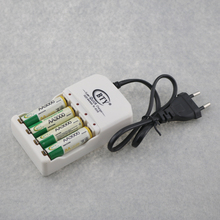4PCS Geeen Color 3000mAh Rechargeable AA NI-MH Battery 1.2V Size 5 + 1PC 4 Slots N606 Charger For AA AAA Batteries