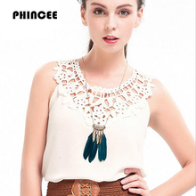 PHINCEE Sleeveless Hollow Out women T-shirt 2017 Summer Fashion Chiffon Sexy O-neck crochet t shirt Solid Slim Female top tees