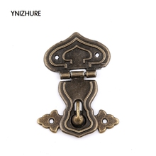 2017 Real Hot Sale Hardware Lock Wood Box 20pcs Jewelry Box Latch 64*48mm Antique Alloy Hasp Lock Clasp Retro Wooden Gourd Door