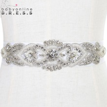Cinturon De Novia Handmade Beaded Crystals Wedding Belt with Stones Wedding Dress Accessories Rhinestone Bridal Sash Bruids Riem(China)