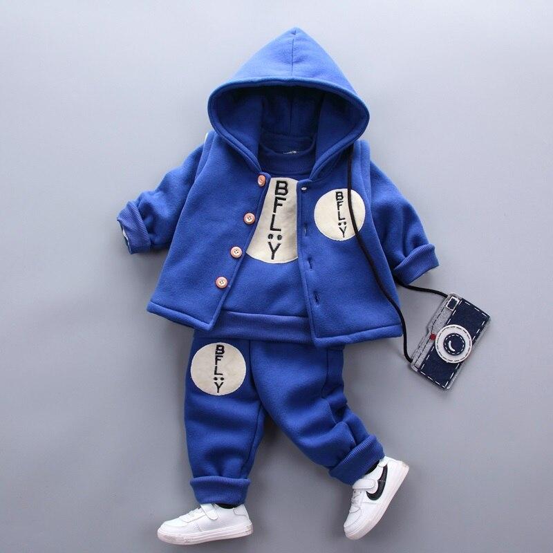 3 pcs baby boy winter clothes set boys navy blue hooded vest long sleeve velvet shirt infant thick warm pants winter trousers <br>