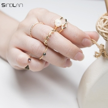 2017 New Fashion 5pcs / Set Ring Charm Pink Crystal  artificial Stone Geometric Triangular Tree Rattan Simple Ring For Women