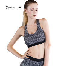 Seven Joe Professional Crop Top Padded Yoga Bra Sky Blue Leopard Fitness Sport Vest Women Running Breathable Sports Bra(China)