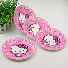 10Pcs/bag 7 inch Lovely Paper Plates Hello kitty for Valentine Birthday Wedding Nursery Party Tableware Party Supplies