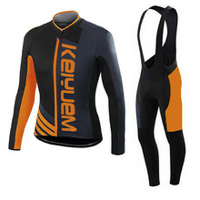 Pro Bicycle Outdoor Sports Cycling Men&Women Long Sleeve Bib Pants Sets Breathable Professional Bicycle Sportswear Black&Orange(China)