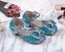 Girl sandals 2017 new Korean version of the summer princess shoes children's high heels little girl snow crystal shoes 26-37(China)