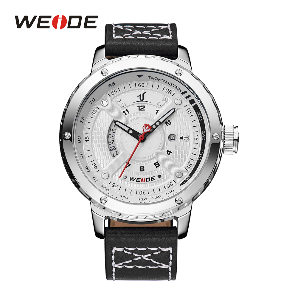 WEIDE Men White Analog Display Complete Calendar Quartz Movement Watches Date Leather Strap Buckle Sport Wristwatch For Climing<br>