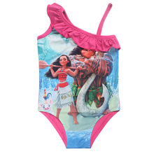 Children's swimsuit 2017 summer Girls baby dress Girl Bikini 1pc Swim Children dress Swimsuits Character Print Cute Kids Clothes(China)